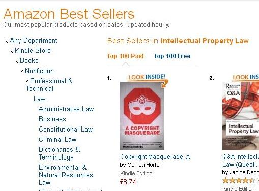 A Copyright Masquerade number one IP law book on Amazon Kindle