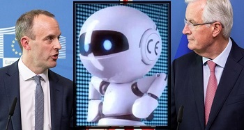 Brexit negotiations - Dominic Raab and Michel Barnier - 2018 - and CE mark robot